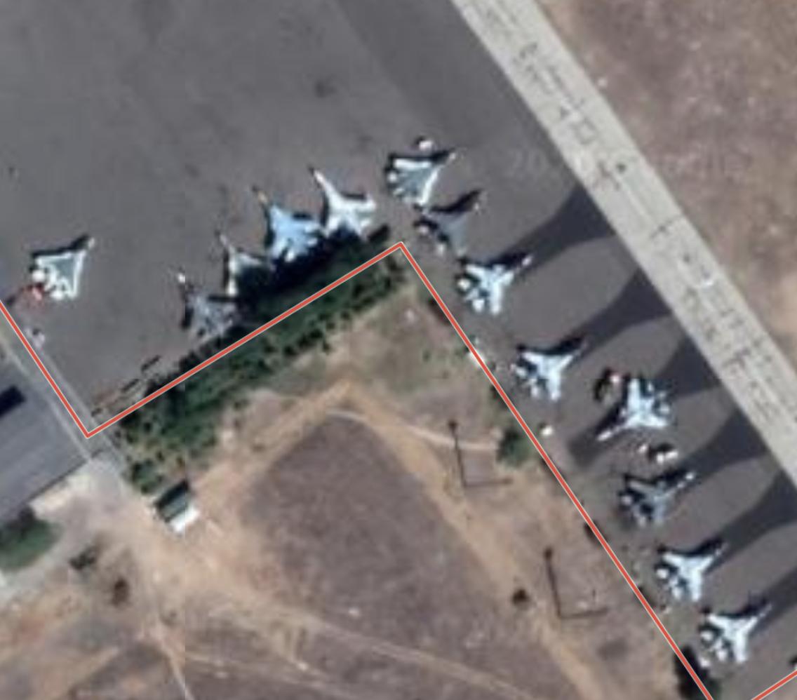 Akhtubinsk AFB - mix of Su-27, Su-34, Su-35 and Su-57 (Google Maps)