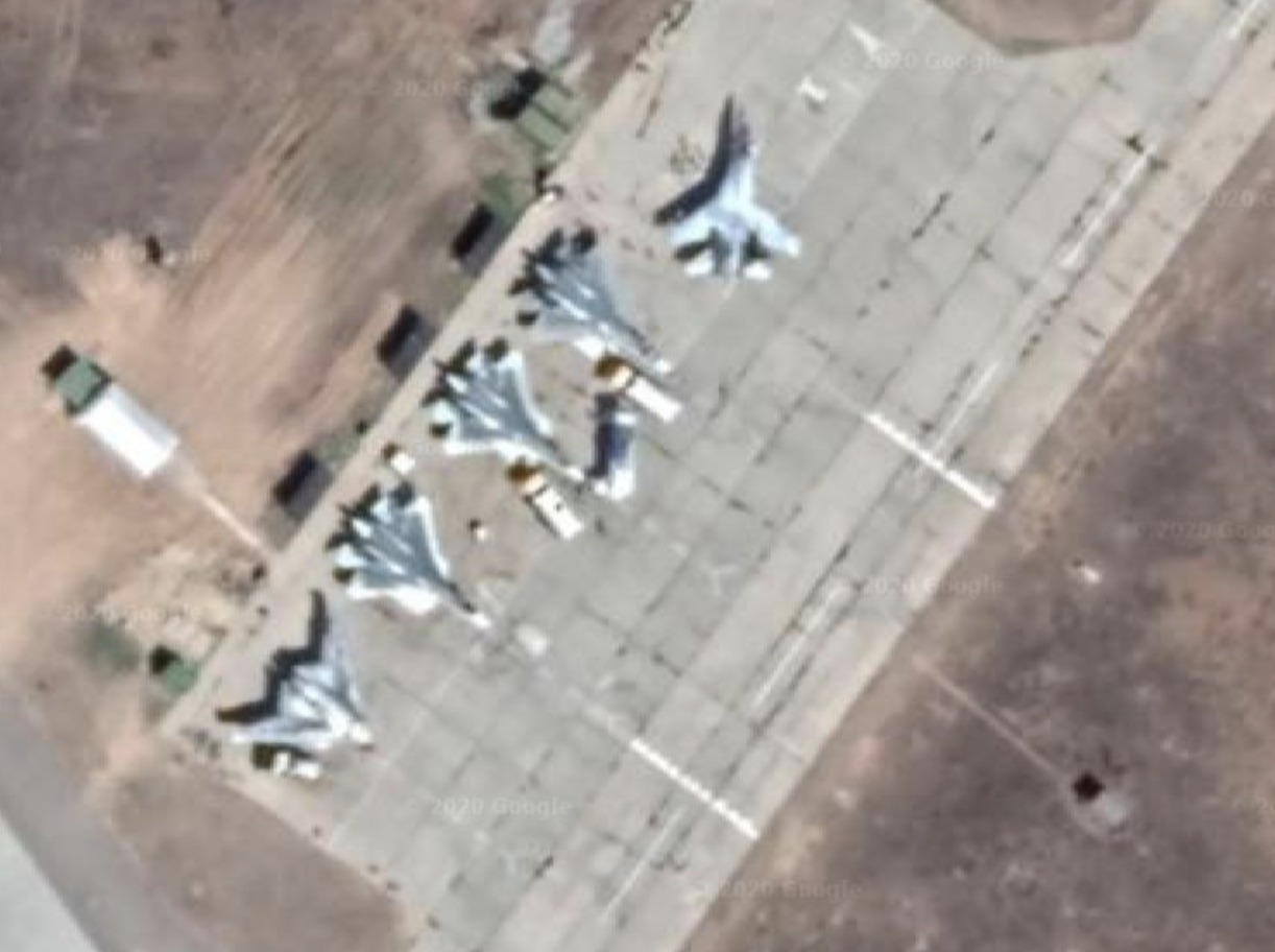 Akhtubinsk AFB - mix of Su-27, Su-34, Su-35, Okhotnik-B (S-70) drone and Su-57 (Google Maps)