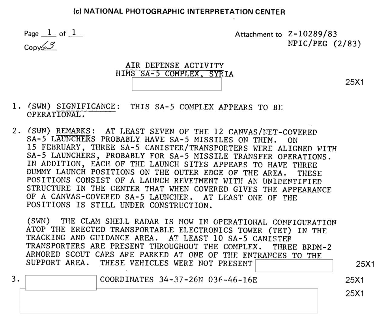 SA-5 SAM identified in Syria (CIA FOIA RR)