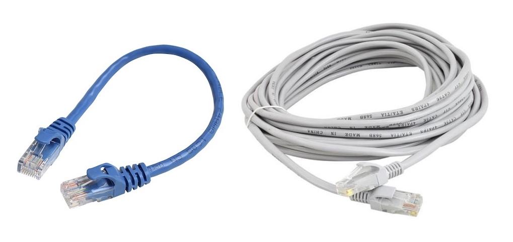 dwa przykłady patchcordów Ethernet, czyli popularnej skrętki