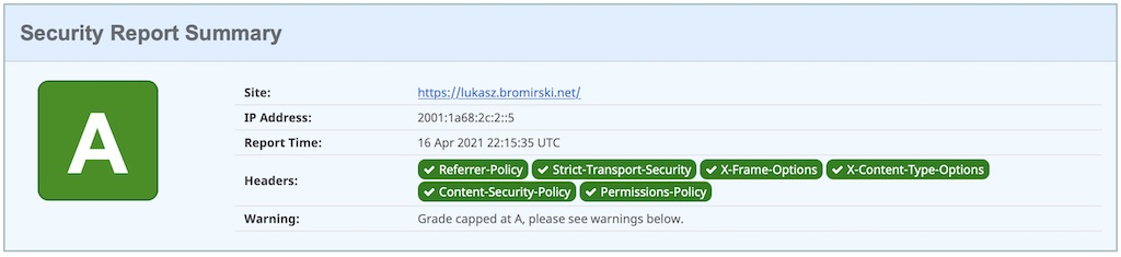 report results for https://lukasz.bromirski.net made by SecurityHeaders